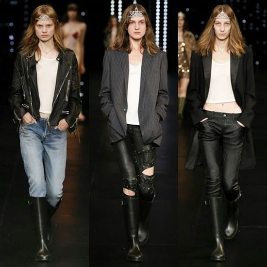 """The """"Who Cares Borrowed-From-Your-Boyfriend"""" Look perfect for hitting the road and work. SaintLaurent  Pfw SS16 Glittergrunge"""