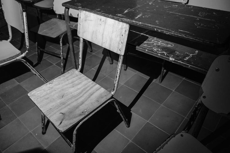 Abandoned Blackandwhite Chair Close-up Dark Day Grunge Indoors  No People School Seat Shadows
