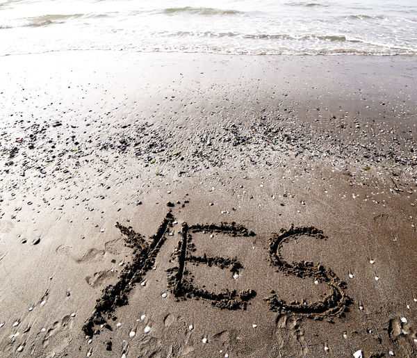writing on the sand of the sea with the word YES No Problem Text Yes Beach Confirm Confirmation Enthusiasm Enthusiast Enthust Ok Sand