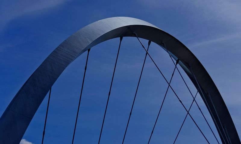 The Clyde Arc Bridge over the river. Architecture and Metal