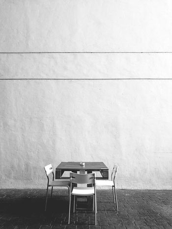 No People Table Chair Architecture Wall Outdoors Simple Simple Photography Minimalism Minimalist Blackandwhite Black And White Photography Black And White Picture Perfect Simplistic Beauty Simplistic Simplistic Shot