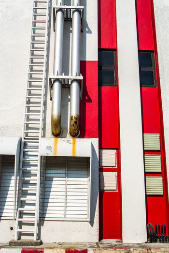 Low angle view of pipes against building