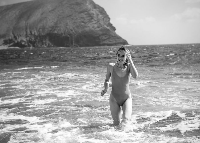 Vacation Postcard Tenerife Black And White Beach Swimsuit Happy Joyful Water Rocks Coast Shore Holidays Perfect Weather Linas Was Here