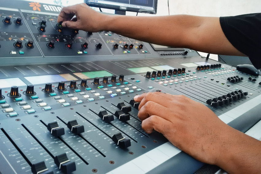 Sound Mixer Control Person Sound Recording Equipment Human Body Part Music Close-up Technology People Occupation Horizontal Control Panel Stereo Mixing Audio Console Mixer Hands At Work Eye4photography