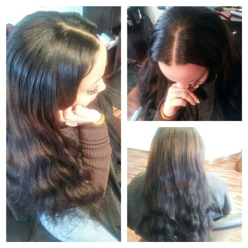 PARTIAL SEW-IN WITH BRAZILIAN BODY WAVE HAIR.