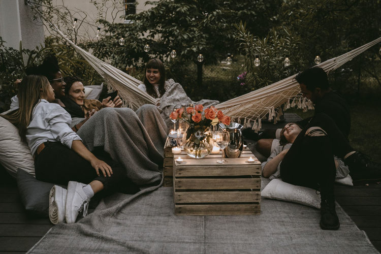 Group of people relaxing outdoors