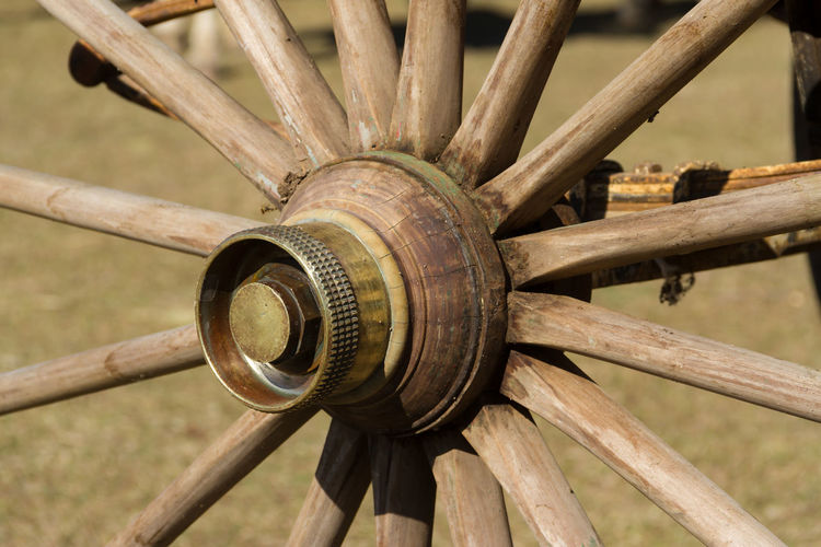 old wooden wheel and sulky bronze in the field Day No People Wood - Material Close-up Wheel Wagon Wheel Transportation Field Nature Cart Outdoors Pattern Focus On Foreground Land Wood Grass Tree Horse Cart Fence Old Horse Sulky Wheel