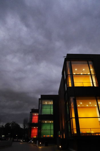 Colorful Dim Light Evening Wintertime Clouds And Sky Gray Sky Night Dramatic Sky Architecture Dusk Built Structure No People Building Exterior