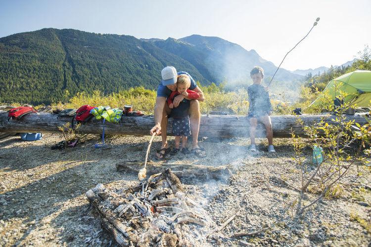 People working on mountain
