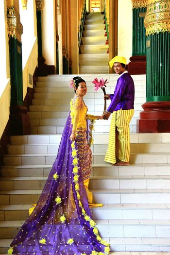 Two People Architecture Clothing Couple - Relationship Celebration Women Adult Heterosexual Couple Togetherness Full Length Traditional Clothing Men Love Wedding Event Married Standing Emotion Positive Emotion Wife Yangon, Myanmar Moments Of Happiness The Portraitist - 2019 EyeEm Awards