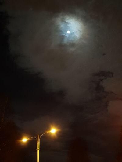 Moon Fullmoon Snow-moon Nightsky Streetlight And Skylight With Full-moon February Nightsky In Sweden. Sky-porn  Moonlight