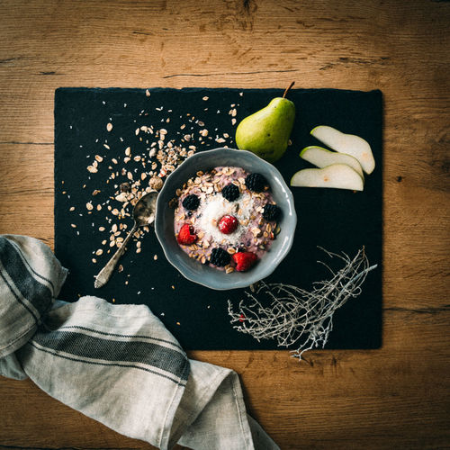 Healthy food bowl Food Food And Drink Freshness Healthy Eating Fruit Indoors  Table Wood - Material Eating Utensil High Angle View Dessert Sweet Food Bowl Sweet Breakfast Wellbeing Berry Fruit Directly Above Healthy Lifestyle Coconut Plate