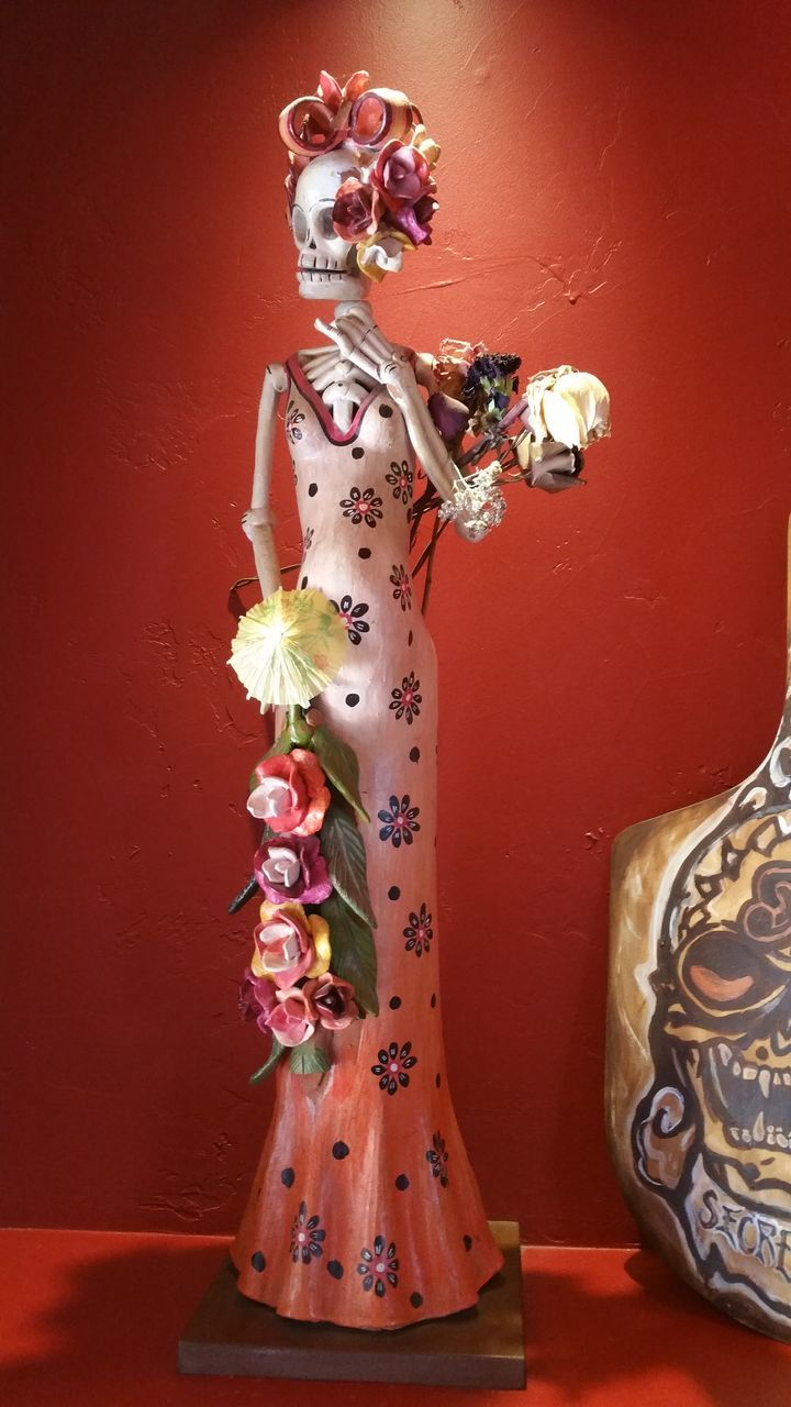 human representation, art and craft, female likeness, statue, creativity, sculpture, indoors, no people, celebration, illuminated, studio shot, close-up, day