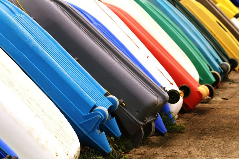 Row of colorful boats