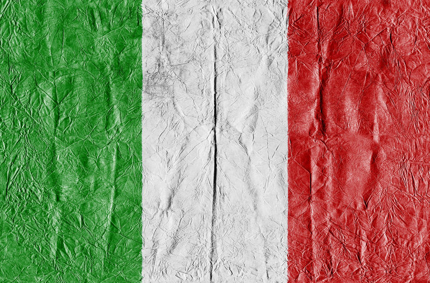 Italy Flag on a paper in close-up Background Close-up Concept Country Flag Eu Europe Flag Freedom Growth Isolated Italy Italy Flag Land National Flag National Land Paper Pattern State Symbol Textured  Travel