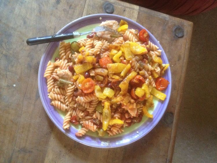 Healthy dinner of chicken pasta with mixed bean salad tomatoes and bell peppers Healthy Eating Mediterranean Diet Nutrition IPhoneography Delicious Value Cheaper Than A Big Mac