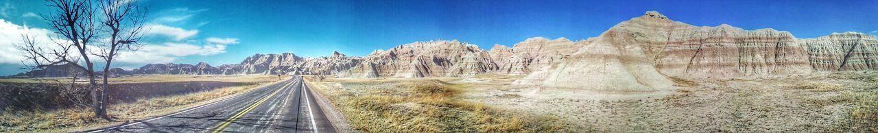 The Bad Lands National Park On The Road Nature Landscape Land And Sky