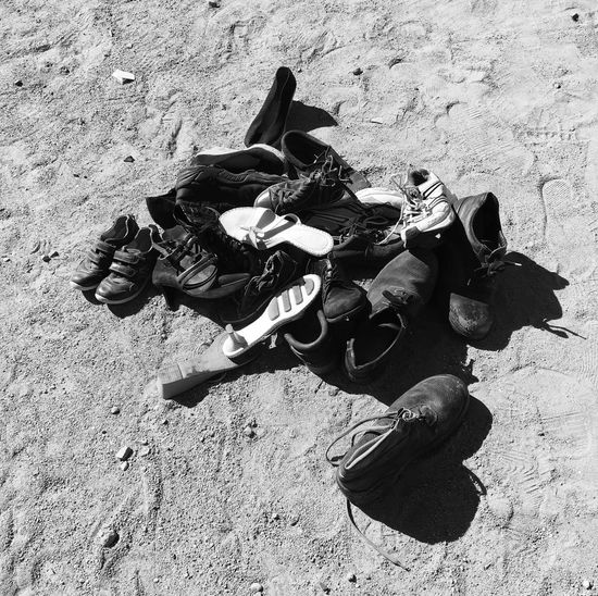 Shoes High Angle View Day Outdoors Sand No People Shoes Market Monochrome Black And White Blackandwhite B&w Poorness Poor  Clothes