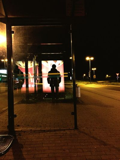 Check This Out One Guy Alone Busstop Waiting Siluet