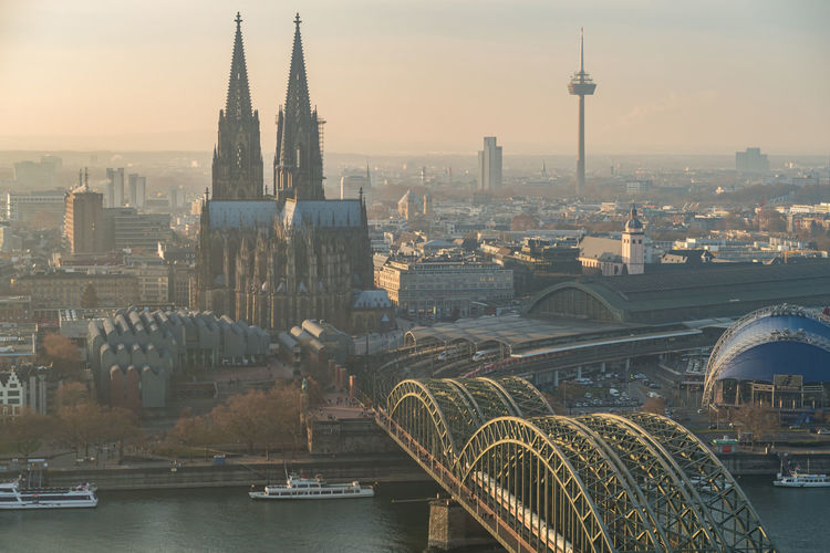 Aerial view on cologne city and hohenzollern bridge in cologne, germany
