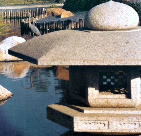 Day Heron Japanese Garden Japanese Lantern Nature No People Reflection Reflection On Water