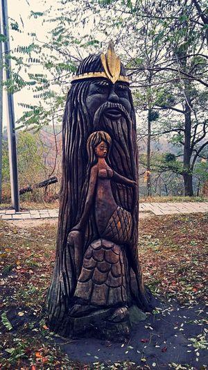 Скульптура из дерева в парке Human Representation Art And Craft Sculpture No People Statue Tree Outdoors Close-up Day