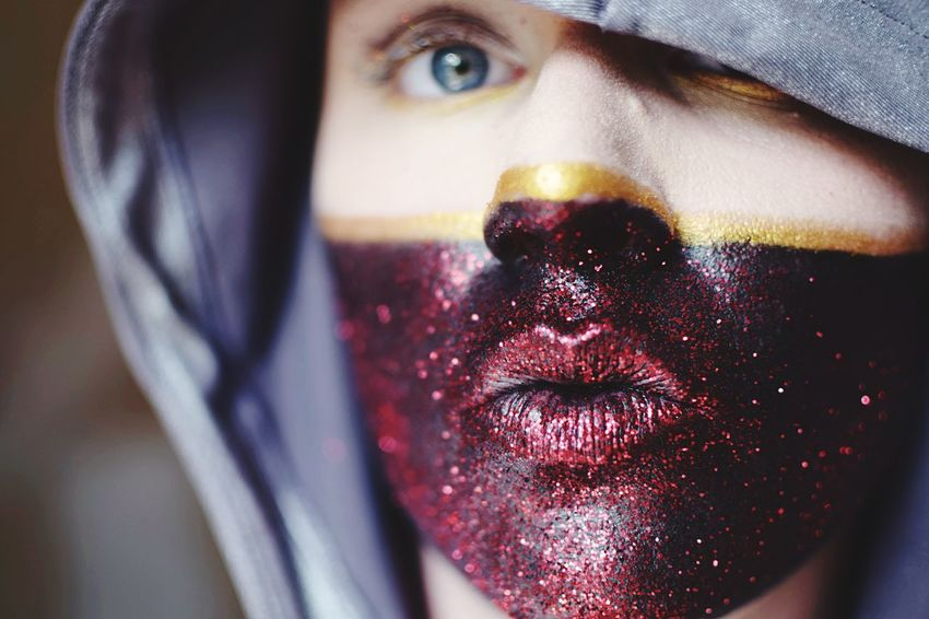 Glitter kiss. Glitter One Person Portrait Body Part Human Body Part Close-up Human Face Real People Looking At Camera Front View Lifestyles Make-up Lipstick Young Adult Human Lips