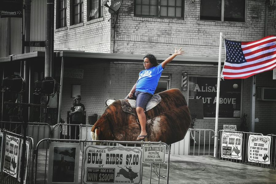 Black And White Sidewalk Outdoors Street Photography Festival Main Street People Watching Pop Of Color Bull Riding  Murica Yeehaw