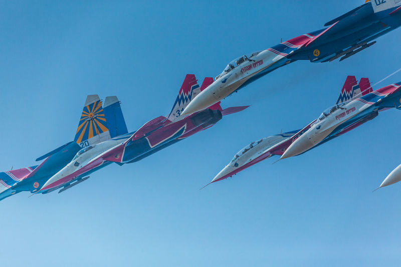 Clear Sky Day Flag Flying Kite Low Angle View MIG 29 Multi Colored Nature No People Outdoors Russian Knight Sky Su-27