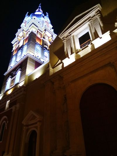 Cartagena, Colombia Architecture Building Exterior Façade History Built Structure Low Angle View Arch Travel Destinations Window Night No People Outdoors Clock Sky City Politics And Government Clock Face Churches Churcharchitecture Churchart