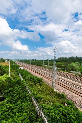 Railway Environment Field Landscape Nature Plant Rail Transportation Railroad Track Sky Track Transportation