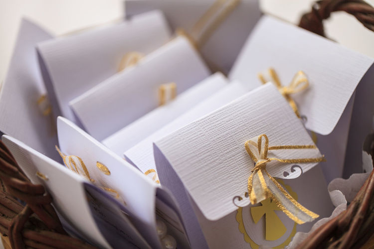 Close-up of gifts on wicker basket