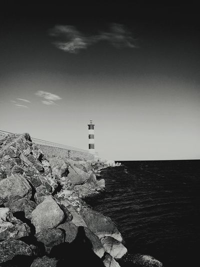 Lighthouse Black And White No People