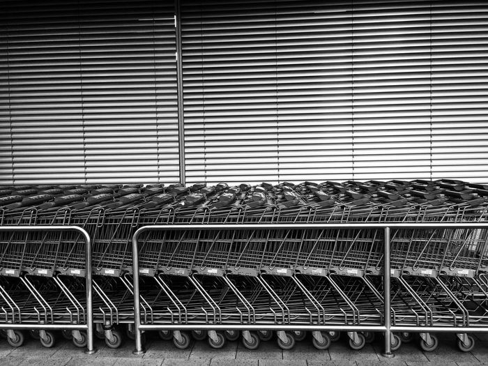 shopping Metal Shopping Cart Trolley Pattern No People Indoors  Day Close-up Supermarket City The Week On EyeEm IPhoneography Black And White Friday