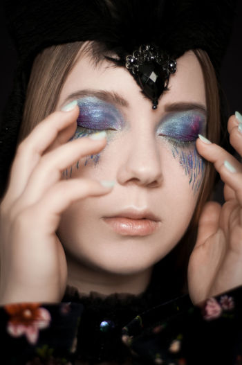 Portrait Beautiful Woman Beauty Black Background Young Women Human Eye Human Face Beautiful People Headshot Fashion Model Eye Make-up Eyeshadow