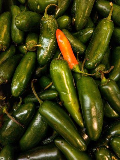Full frame shot of chili peppers at market