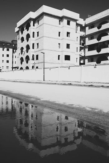 Building Exterior Water Architecture Built Structure Reflection Outdoors Beach No People City Day Sky Walking Around FUJIFILM X-T1 Fujifilm_xseries TheMinimals (less Edit Juxt Photography) Notes From Babylon Blackandwhite Photography Urban Exploration Urban Geometry Urban Photography Taking Photos
