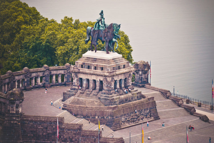Historic german corner deutsche eck where rhine and moselle flow together in koblenz, germany.