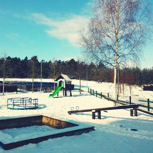 Winter Wintertime Winter Sky Winter 2016 Winter Day Snow Snow Covered Playground Playgrounds Playground Equipment Playground Slide
