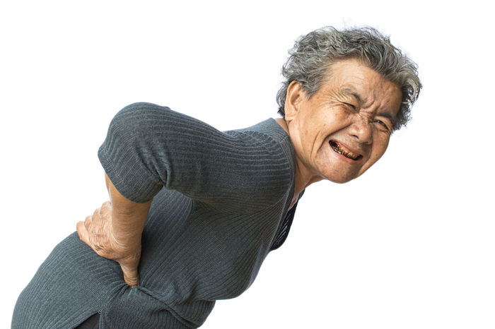 Pain Backache Gray Hair Old One Person Portrait White Background