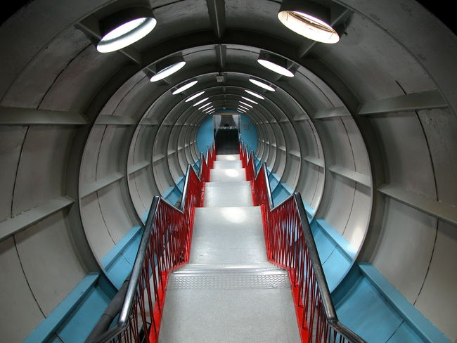 Staircase inside Atomium Architectural Feature Atomium Brussels Ceiling Design Futuristic Indoors  Metal Narrow Staircase