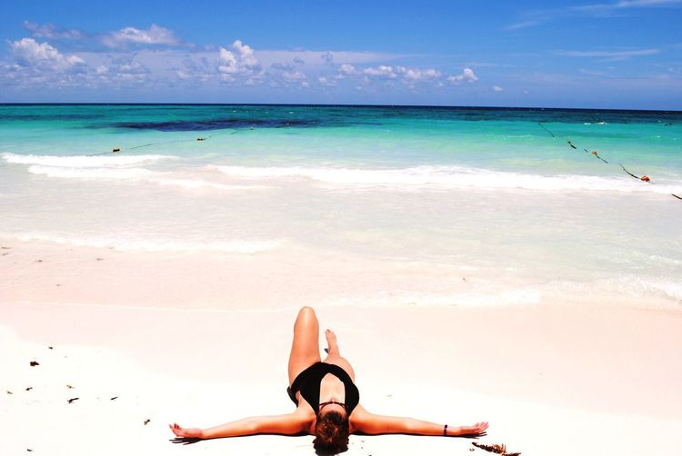 Tulum beauty Beach Beautiful Woman Tulum Sun Sand Sea Blue Sky Blue Wave The Traveler - 2018 EyeEm Awards