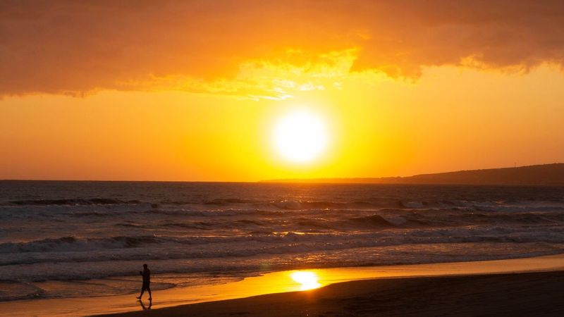 Beach Runner Sunset Sky Water Beauty In Nature Orange Color Scenics - Nature Sea