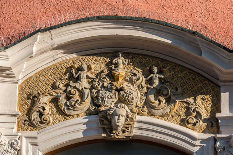 Beautiful coat of arms on a historical old building Architecture Building Exterior Built Structure Low Angle View Art And Craft No People Building Day Carving - Craft Product Craft Ornate Sculpture The Past Wall - Building Feature Representation Design Pattern Creativity History Architectural Feature Bas Relief