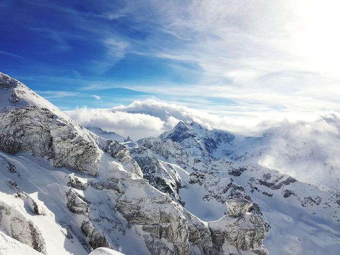 view From Mt. titlis Titlis,Switzerland Cloud - Sky Snow Aerial View Mountain Nature Scenics Sky Outdoors Landscape Beauty In Nature No People Winter Cold Temperature Mountain Range Snowcapped Mountain EyeEmNewHere Shades Of Winter