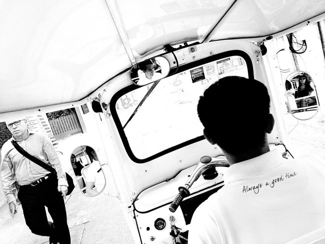 Always a Good Time! Black & White Photography Driver High Angle View IPhone Photography IPhoneography Leisure Activity Lifestyles Men Mobile Photography Mobileography Mode Of Transport Monochrome People Real People Rear View Rear View Mirror Reflection Street Photography Transportation Tuk Tuk Windshield