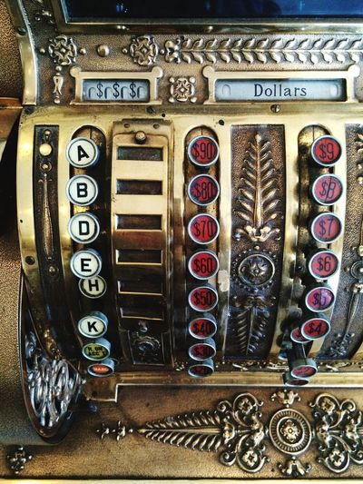 Cash Register Antique Numbers Gold Fancy Ca-ching
