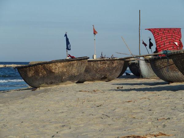 Trip in Hoi An, Vietnam August 2015. Beach Boat Clear Sky Flag Hoi An Hoi An, Vietnam Nutshell Boat Outdoors Sand Sand Dune Sea Sky Tourism Vietnam Water
