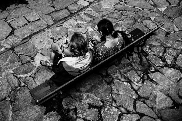 Bnw High Angle View Day Real People Sunlight Nature One Person Child Street