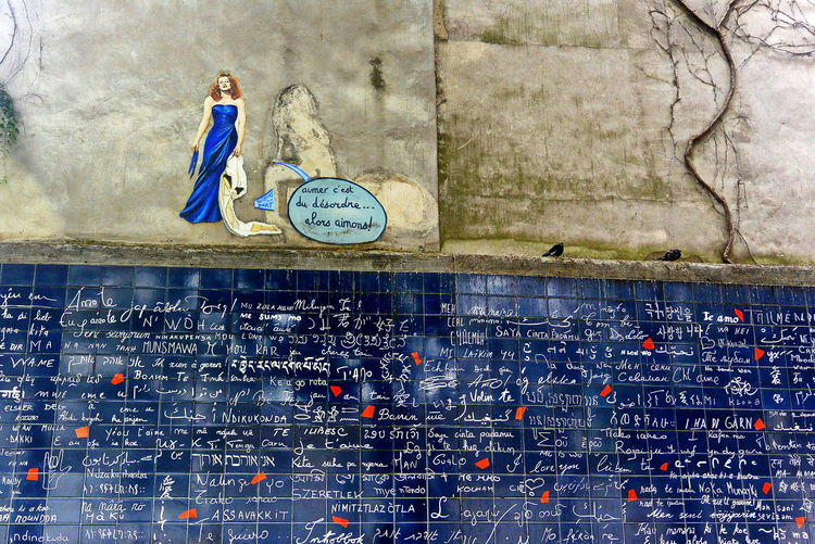'I Love You' Wall Blue Wall I Love You In All Languagues Le Mur Des Je T'aime Montmartre, Paris Place Des Abbesses Wall Art Wall Of Love Wall Picture Walls Of Paris Watch The Walls
